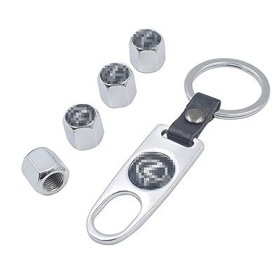 INCART Universal Steel (4pcs) Car Tire Valve Stem Air Caps Cover + (1pcs) Keychain for Lexus Silver: Automotive