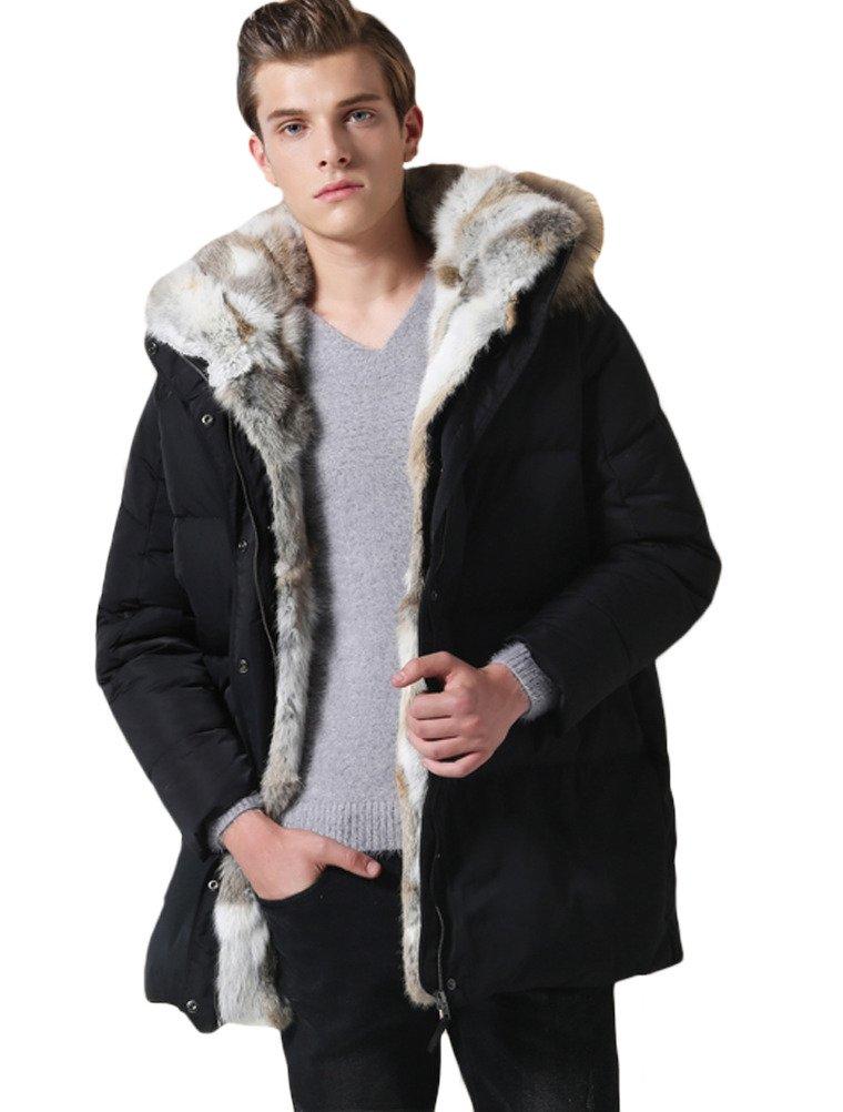 (モダンミス)Mordenmiss 厚いダウンジャケット 裏毛 ユニセックス B015P9YM7W ブラック-Men-XL ブラック-Men-XL