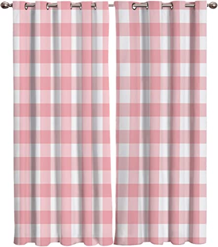 Pink Gingham Buffalo Check Blackout Curtain Window Drapes Thermal Insulated Curtains 2 Panel