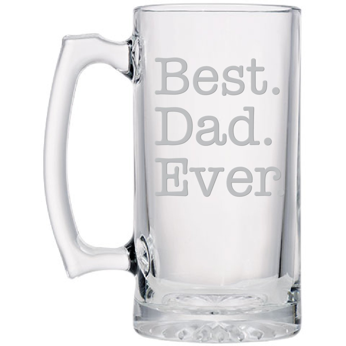 Best Dad Glass Beer Sports Mug, Hand-Engraved Jumbo 26.5 oz (Best Dad Ever)