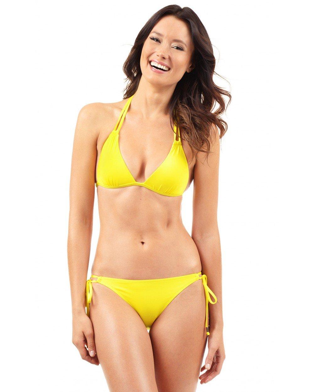 Voda Swim Women's Envy Push up Double String Bikini Top M Yellow