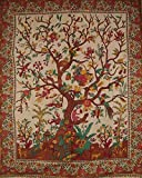 Tree Of Life Tapestry Floral Bird Queen Bedspread 100% Cotton