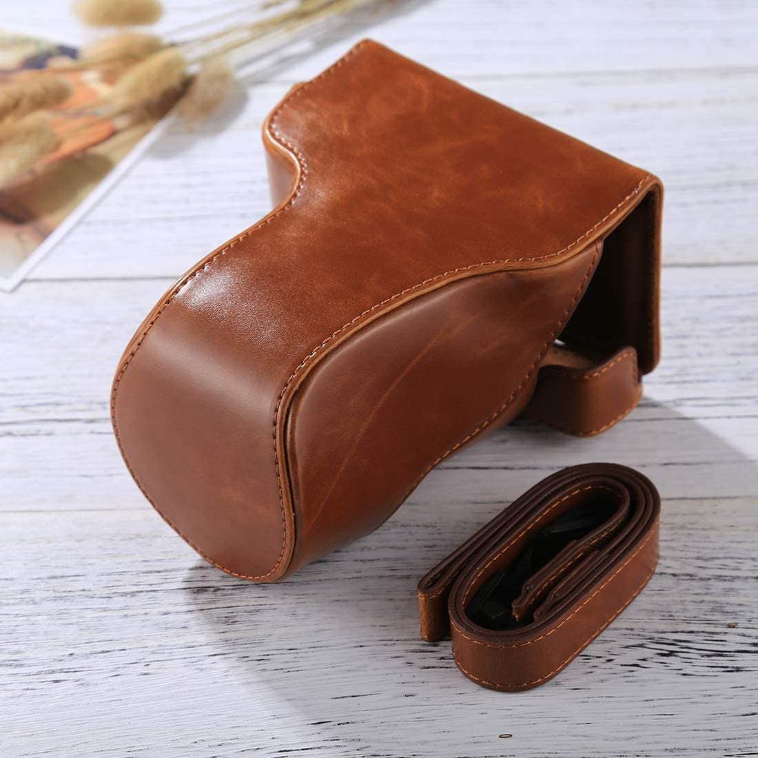 CAOMING Full Body Camera PU Leather Case Bag with Strap for Canon EOS M6 18-150mm Lens Color : Brown Durable