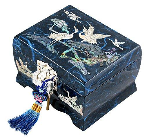 Fun-Store Nacre Inlay Mother of Pearl Music Jewellery Storage Chest Wooden Box Crane with Pine Tree Design Jewelry Mirror Box Keepsake Treasure Gift Box Trinket Case Organizer (Blue)