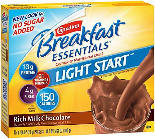 Carnation Breakfast Drink - Carnation Breakfast Essentials Light Start Powder Drink Mix, Rich Milk Chocolate, 8 Packets (Pack of 8 Boxes)