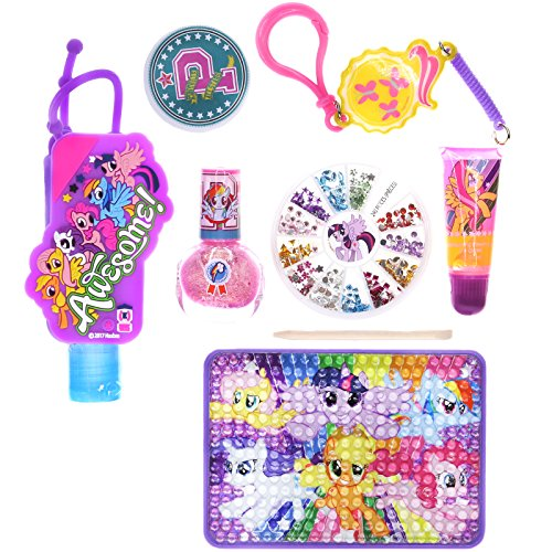 - Townley Girl My Little Pony Cosmetic Set for Girls: Nail Polish, Lip Gloss, Hand Sanitizer, Nail Gems and More
