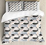 Ambesonne Whale Duvet Cover Set Queen Size, Animal Silhouettes with Different Designs Curved Lines Dots and Chevrons, Decorative 3 Piece Bedding Set with 2 Pillow Shams, Slate Blue Peach Black