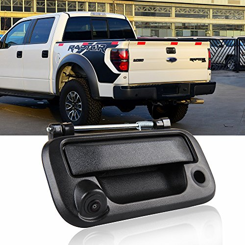 Tailgate Handle Backup Camera for F250 F350 F450 F550 2005-2014 CAR ROVER, Ford F150 Reverse Rear View Cameras for Lincoln Mark LT 2006-2014 (Black, 1 Pack)