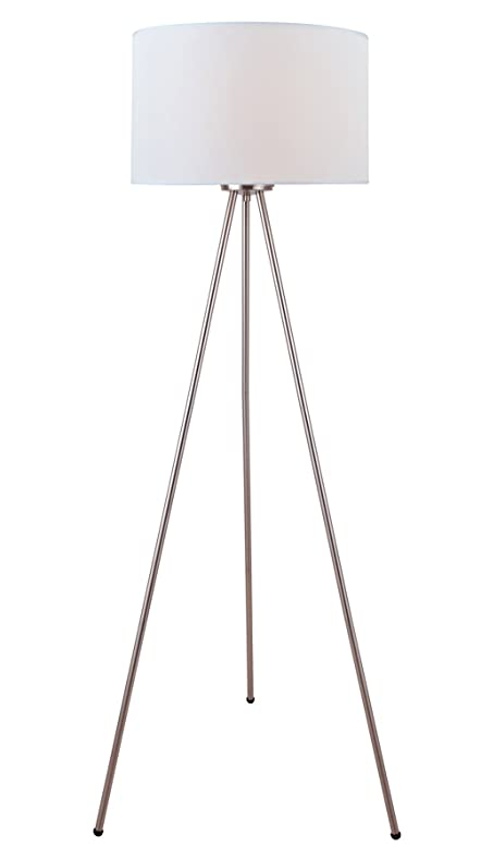 Lite source ls 82065 floor lamp with white fabric shades polished lite source ls 82065 floor lamp with white fabric shades polished chrome finish mozeypictures Choice Image