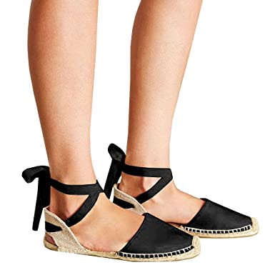 96503218a3 Pxmoda Women's Lace Up Espadrille Sandals Bandage Ankle Buckle Flats Flip  Flops (US 10,