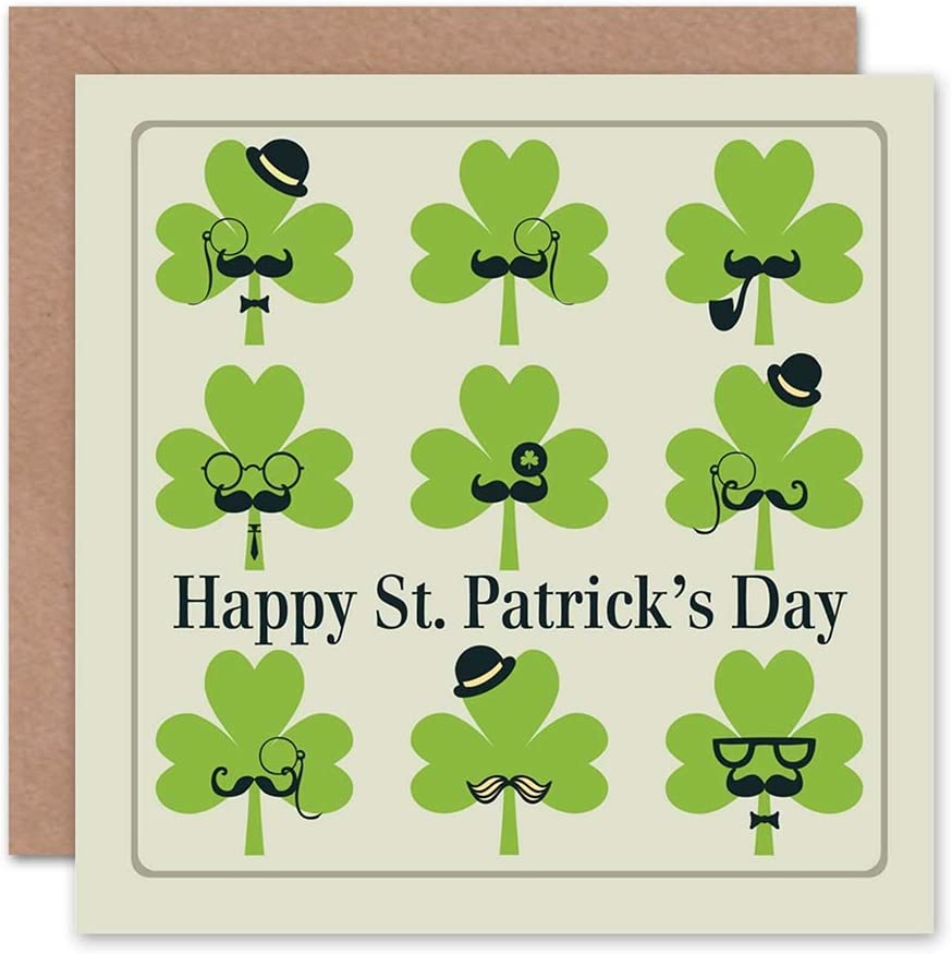 Wee Blue Coo Funny St Patricks Day Card Moustache Characters