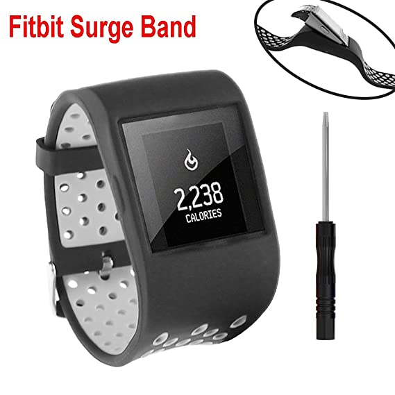 Budesi Replacement Large Strap Band Compatible for Fitbit Surge Watch  Fitness Tracker WatchBand Wrist Band Wristband Silicone Accessories Free  Size