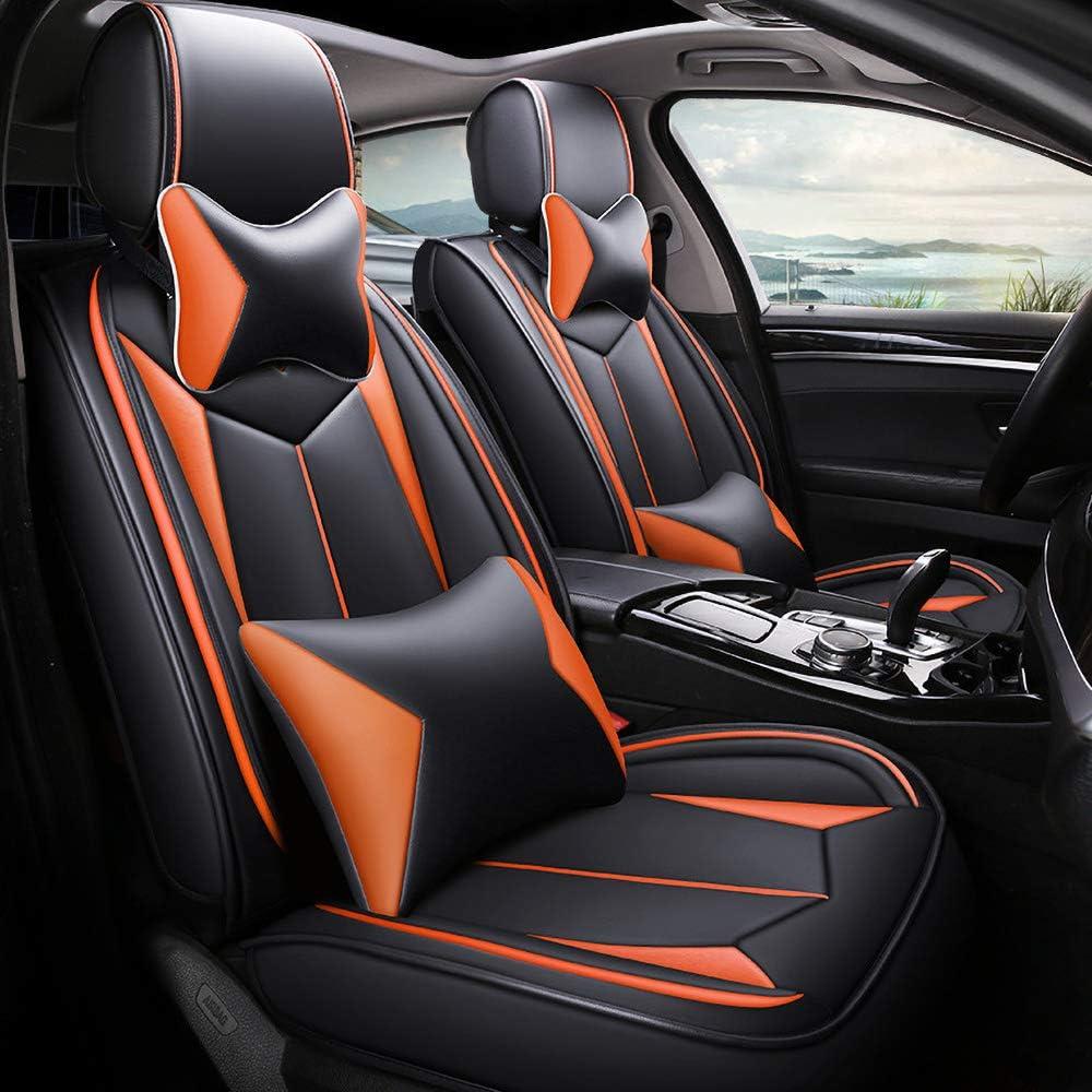 Autositzbezüge Für 5 Sitze Leder Sitzbezüge Set Auto Vorderseite Und Rückseit Vierjahreszeiten Sitzbezug Abriebfestes Autositzkissenbezug Orange Deluxe Edition Auto