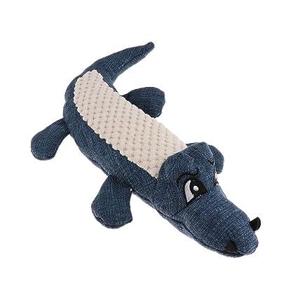 NON Sharplace Mordedor Sonido Gato Perro Squeaky Masticar Morder Juguete Simulación Cocodrilo Mascota - Azul