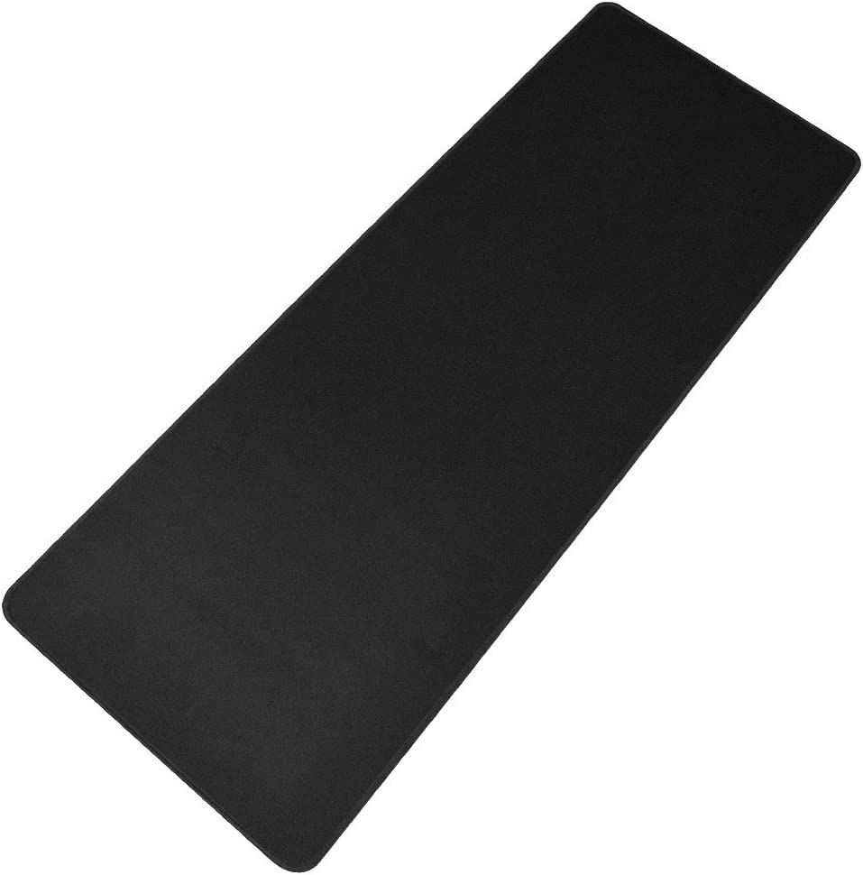 "HOOYEE Extended Non-Slip Rubber Base 3mm Thick Soft Keyboard Gaming Mouse Pad Mat, Stitched Edges 31.5""x11.8""x0.12"" (Black)"