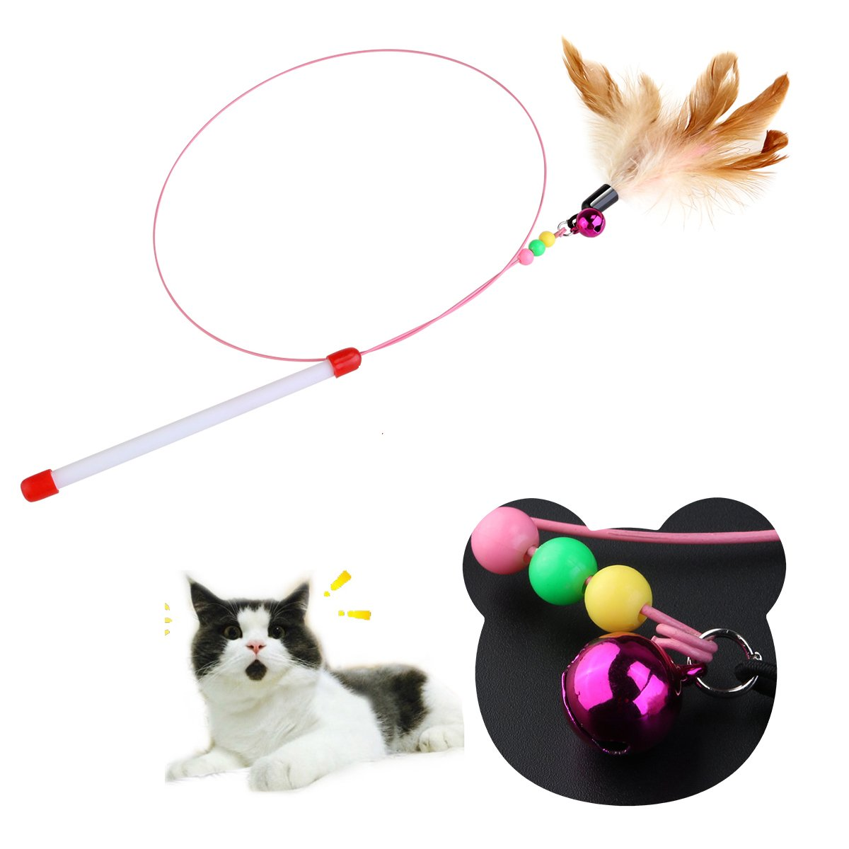 Lovely Love Heart Shape Cat Toys Cute Funny Colorful Rod Teaser Wand Plastic Pet Toys For Cats Interactive Stick Cat Home & Garden