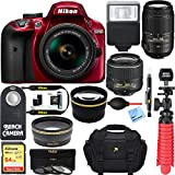 Nikon D3400 24.2 MP DSLR Camera + VR Lens Kit + Bundle 64GB SDXC Memory + Photo Bag+Wide Angle Lens + 2x Telephoto+Flash+ Remote +Tripod+Filters (18-55mm & 55-300mm Dual VR Zoom Lens Package (Red)