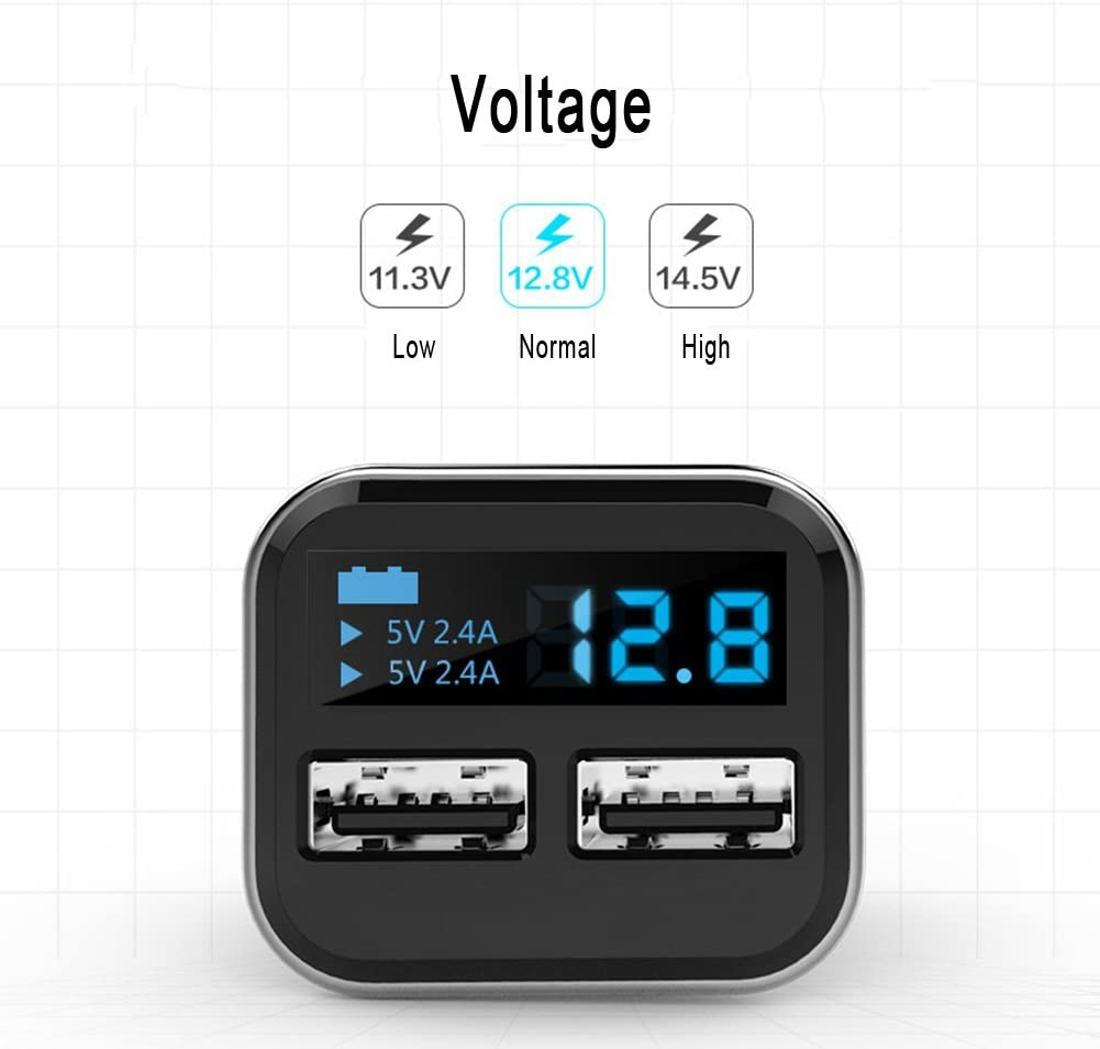 KLJKUJ 4.8A Dual USB Port Vehicle Mounted Cellphone Charger Adapter LED Display Voltage Monitor Crazy Fast Car Charger 4.8A Black