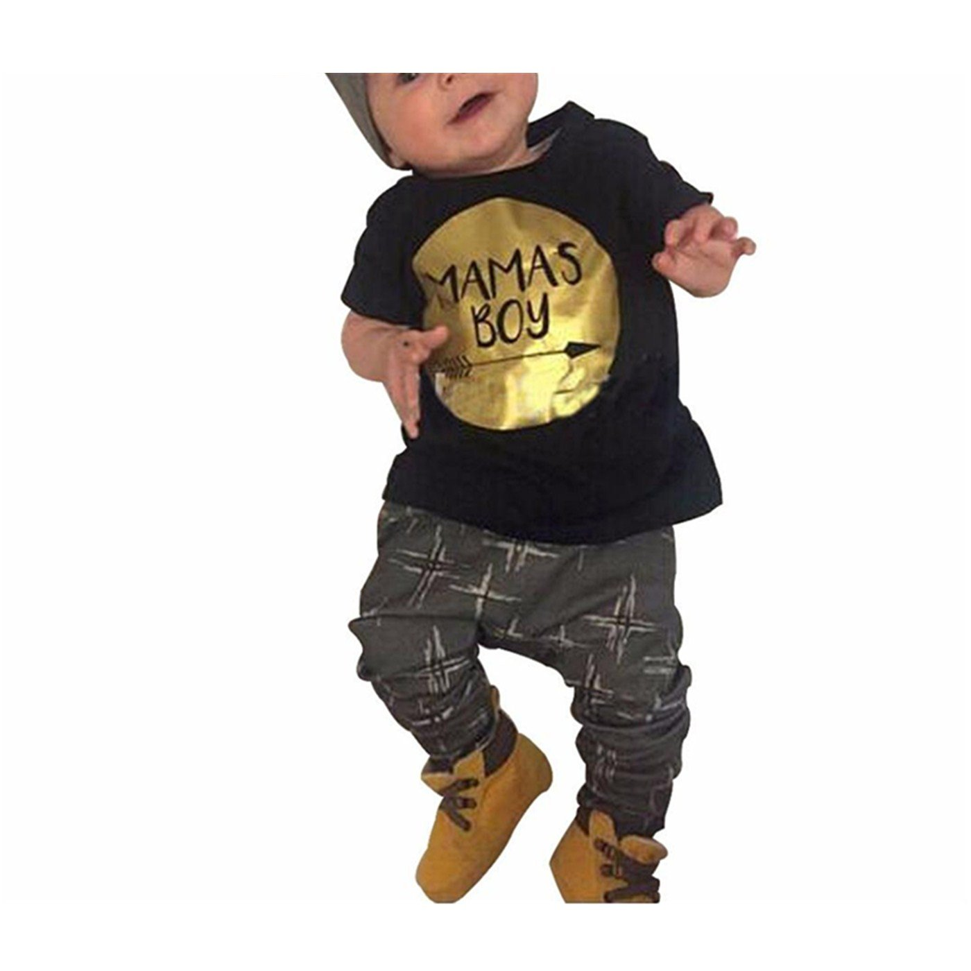 Clearance!!! Vovotrade 2pcs Toddler Boys Summer Letter Print Short Sleeve Top T Shirt +Long Trousers Outfits Set (90 (12-18months), Black) Vovotrade-Baby Clothes