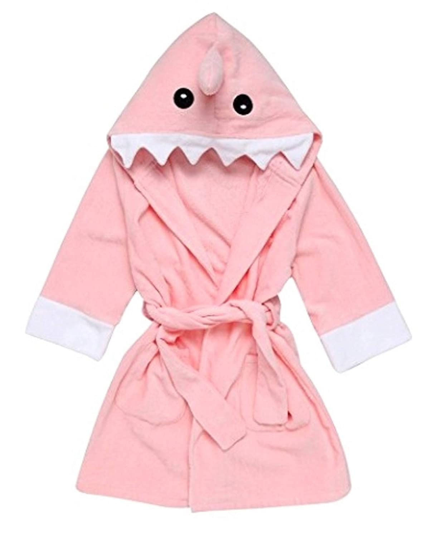 6acb56e68bbdf Mr.Duca Cute Hooded Towels for Baby Toddler Children Bathrobes Animal  Design Bath Towel (Pink Shark, M)