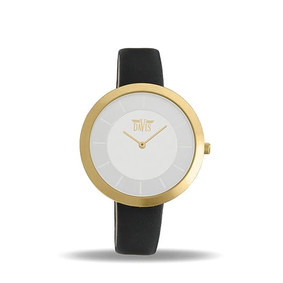 Davis 2039 - Reloj Diseño Mujer Acero Oro Cuadrante Extra plano Esfera Acero Correa de Piel Negro: Davis: Amazon.es: Relojes