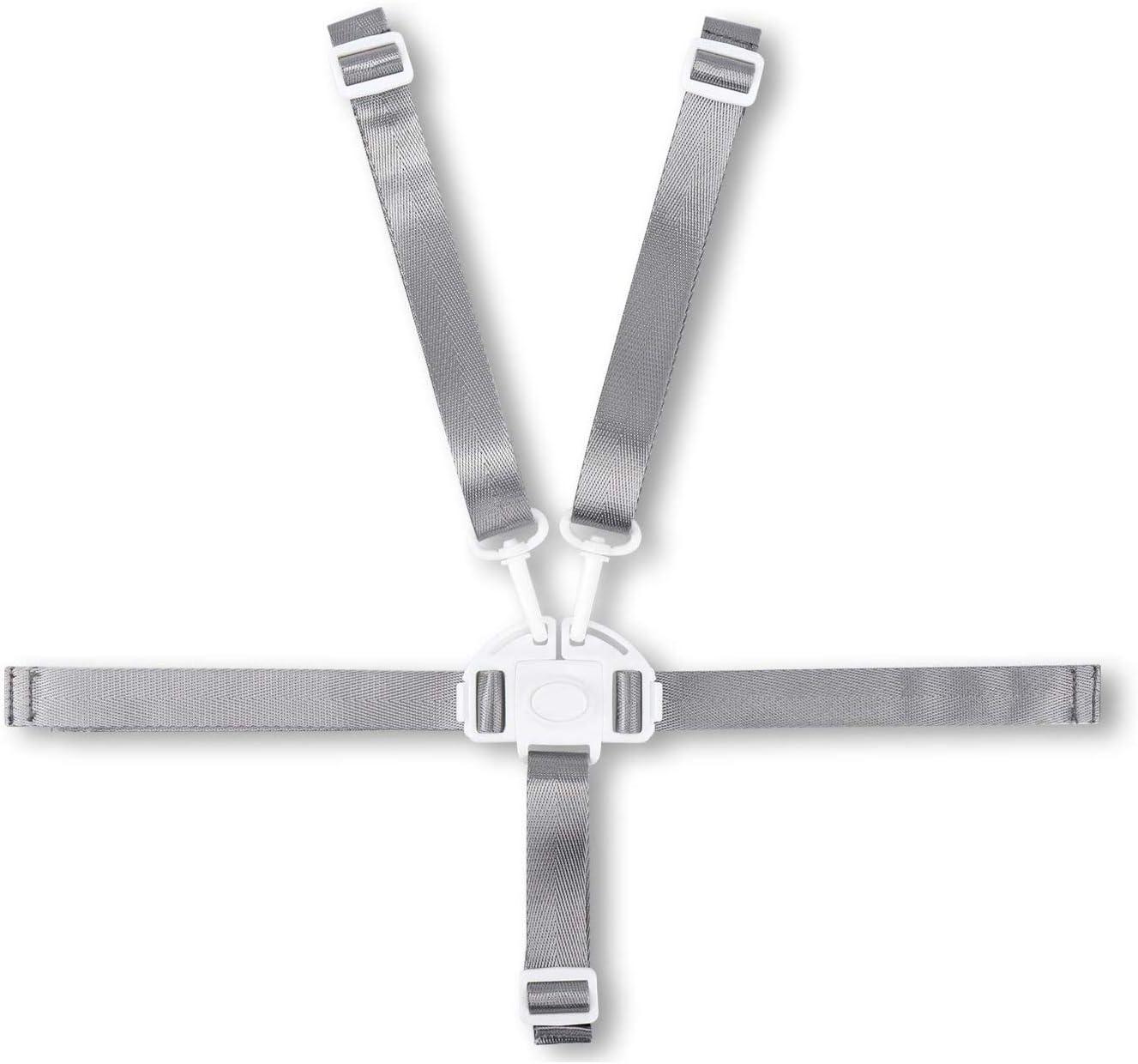 arnés de 5 puntos,arnés universal para silla alta,Cinturón de Seguridad del Bebé,Arnés Silla Bebé 5 Puntos Cinturón (Blanco)