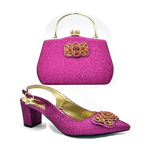Amazon.com: HUALI Zapatos de color verde y bolsas a juego ...