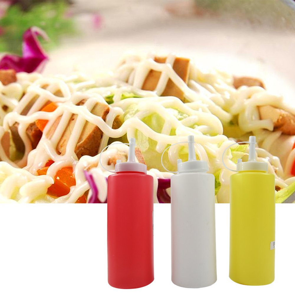 T-MEKA 250 ml Squeeze Sauce Bottle, Best Dispensers for Home & Restaurant Ketchup, Mustard, Mayo, Dressings, Olive Oil, BBQ Sauce, Salad (Random Color) by T-MEKA (Image #5)