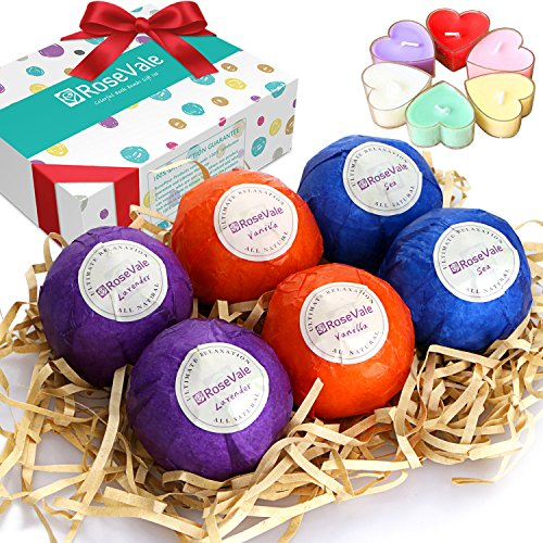 RoseVale-Natural-Vegan-and-Handmade-Organic-Bath-Bombs-Gift-Set-6-Assorted-Bath-Bombs-Including-6-Candles