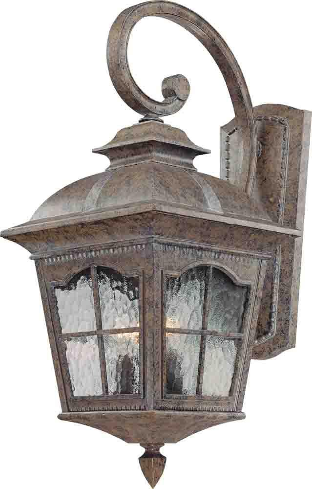 Volume Lighting V8273 Leeds 3 Light 25.5'' Height Outdoor Wall Sconce with Water, Amulet Bronze