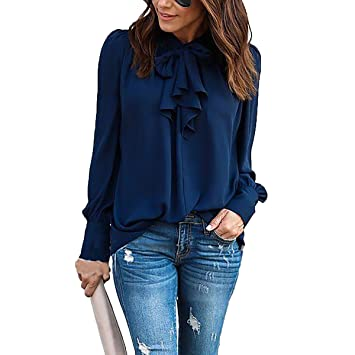 3ea51976696f47 YF Women's Bow Style Long Sleeves Pure Color Chiffon Shirt Tie Bow Neck  Chiffon Loose Shirt Blouse Tops: Amazon.co.uk: Sports & Outdoors