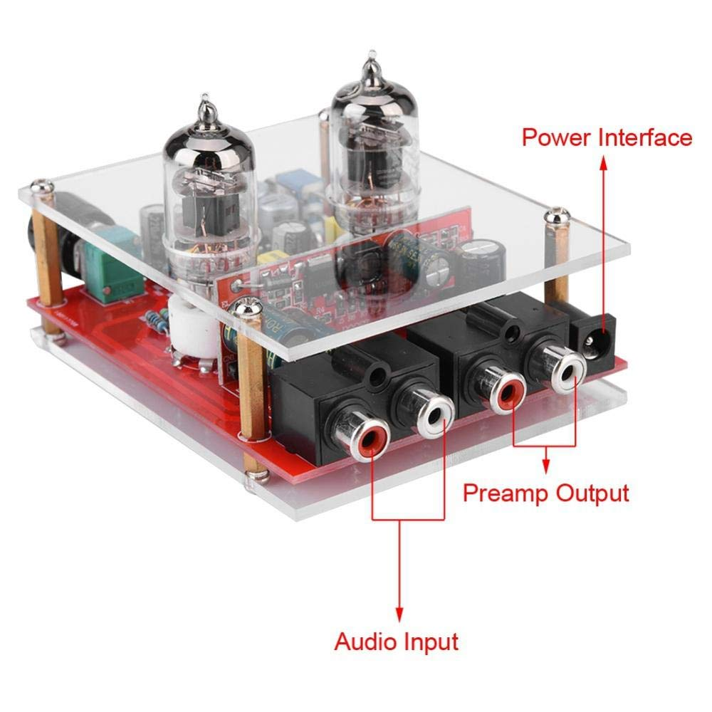 Zopsc 12V Preamplifier + Headphone Amplifier DIY Kit 6J1 Tube Board Acrylic  Board Audio Preamplifier Board, Suitable for Laptop/Desktop Mobile Phone
