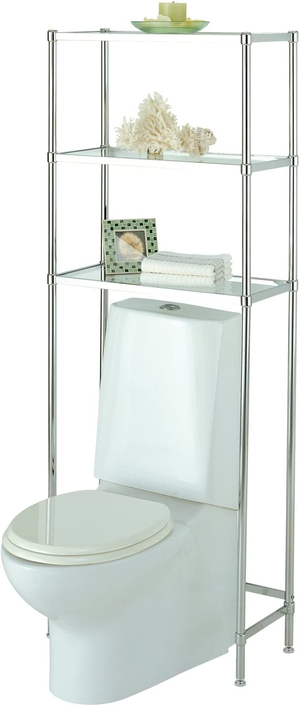 "Organize It All 3-Tier Over The Toilet Bathroom Storage 24.25"" x 10.75 x 63.5"