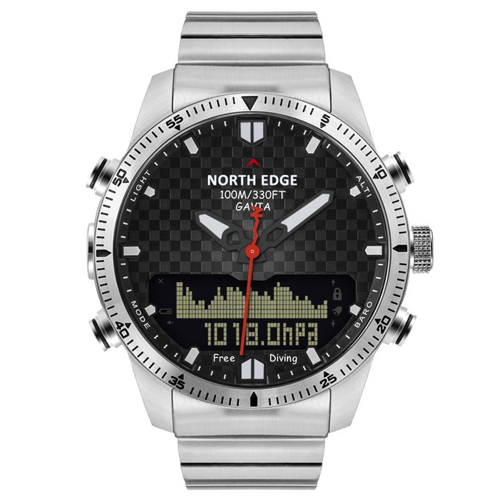 スマートなビジネス時計メンズ、歩数計バロメーター コンパス、100 M 防水、ポインターをデジタル表示、することができます泳ぐダイビング   B07PG94CJB