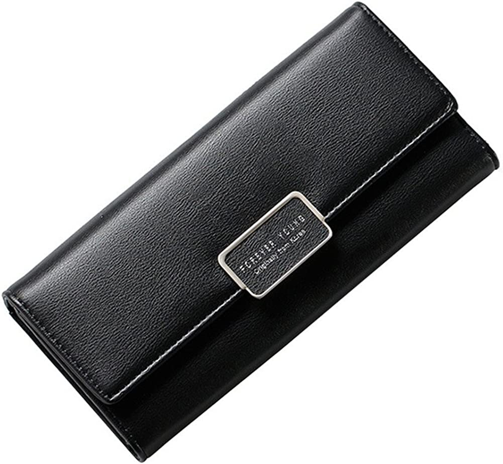 Angel3292 Lady Faux Leather Trifold Long Solid Color Wallet Multicard Slots Clutch Purse