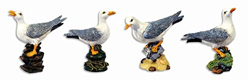 Handpainted Seagull Bird Figurine 4 Set Of 4
