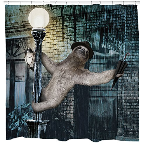 Sloth fabric shower curtain set with animal singing in the for Sloth kong shower curtain