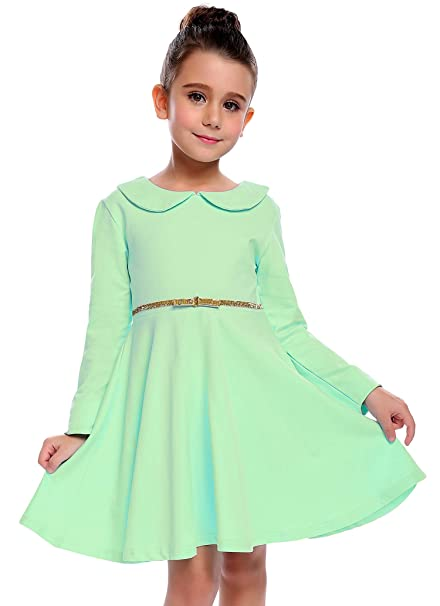 89b000aaca3e Arshiner Little Girls Long Sleeve Dress Doll Collar Solid Color School Dress