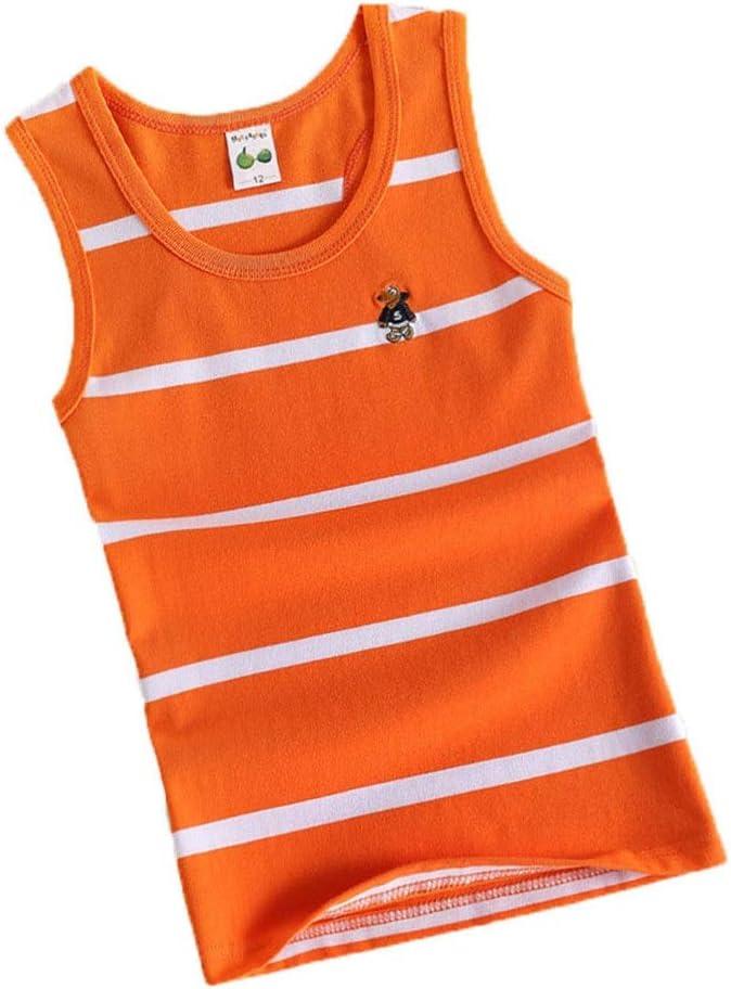Kids Cotton Tank Top Undershirts Childrens Summer Striped Crew Neck Short Sleeve Vest Bottoming Sleeveless T-Shirts Soft Comfort Boys Undershirts Tank Top Black White For Boys or Girls