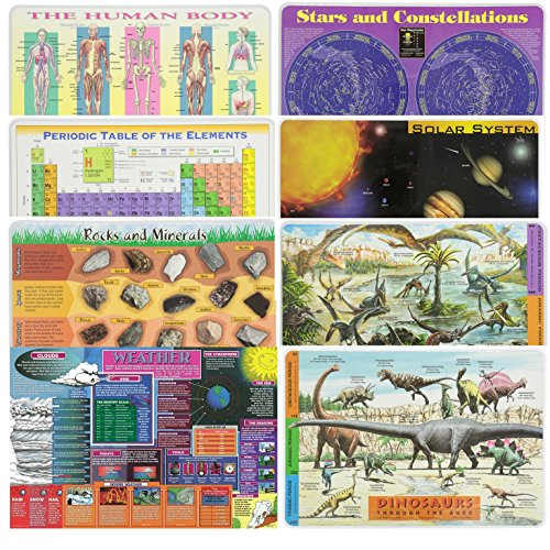 Painless Learning Educational Placematsfor Kids Human Body, Periodic Table, Rocks and Minerals, Solar System, Weather, Stars, Pterosaurs, Dinosaurs 8 Pack