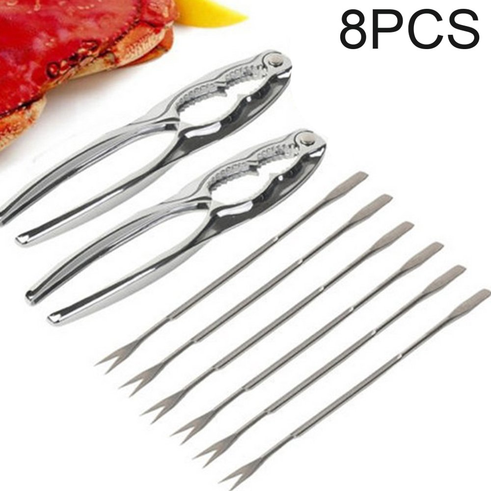 PetHot 8Pcs Stainless Steel Seafood Tool Kit For Shellfish Lobster Crab Cracker Nutcracker