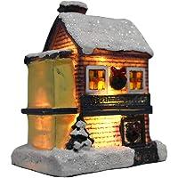Vosarea عيد الميلاد المقصورة المنزل القرية الثلج منازل عيد الميلاد الراتنج سطح المكتب متوهجة زخرفة للمنزل فندق مكتب