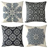 WOMHOPE 4 Pcs - 17'' [Just Cover] Vintage Style Cotton Linen Square Throw Pillow Case Decorative Cushion Cover Pillowcase Cushion Case for Sofa,Bed,Chair,Auto Seat (European Classic Style B (Set of 4))