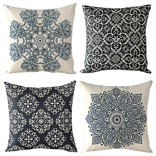 """WOMHOPE 4 Pcs - 17"""" [Just Cover] Vintage Style Cotton Linen Square Throw Pillow Case Decorative Cushion Cover Pillowcase Cushion Case for Sofa,Bed,Chair,Auto Seat (European Classic Style B (Set of 4))"""