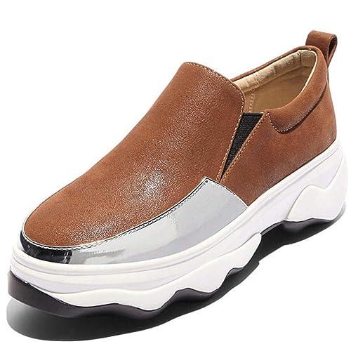 Señoras Negro Verde Casual Mocasines Planos Mujeres Plataforma Creepers Zapatillas Zapatos Slip-on Flats Calzado: Amazon.es: Zapatos y complementos