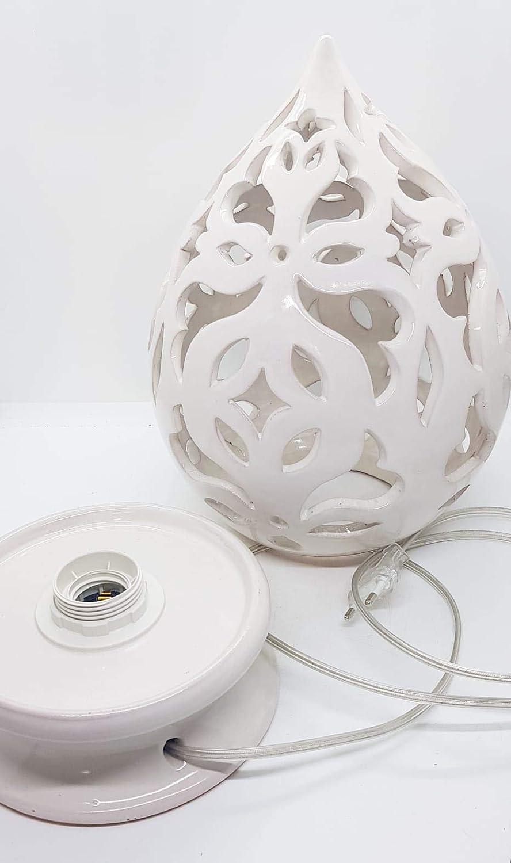 Illuminazione Lampada Da Tavolo Comodino Traforata Bianca Handmade Le Ceramiche Del Castello Made In Italy 32 X 22 Cm Prodotti Handmade