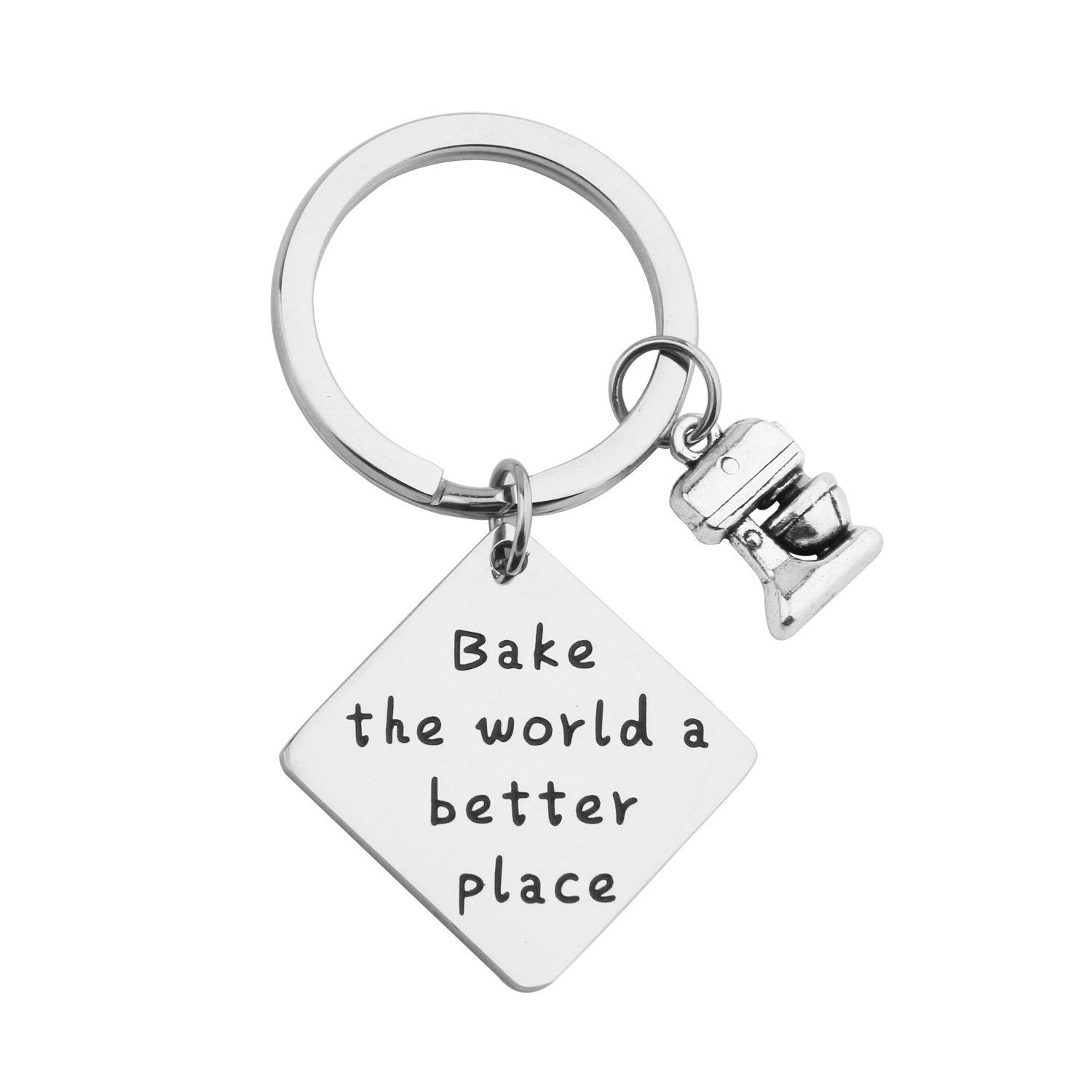 MAOFAED Gift for Baker Bake the World a Better Place Culinary Student Gifts Bake Lover Keychain Gift (KR-Baker Keychain)
