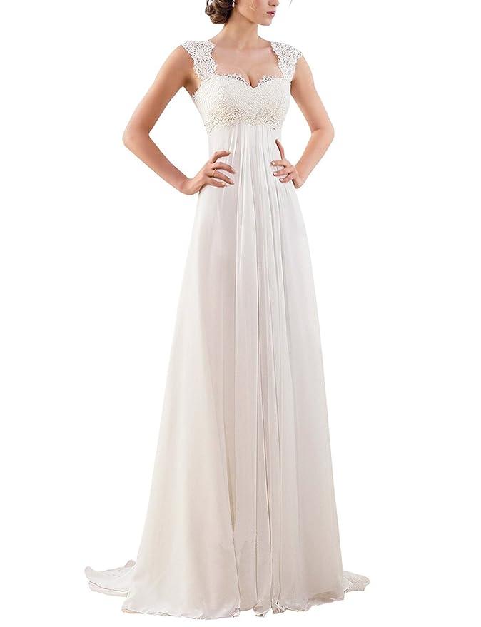 Erosebridal 2018 New Empire Lace Chiffon Wedding Dress Bridal Gown Size 12 Ivory