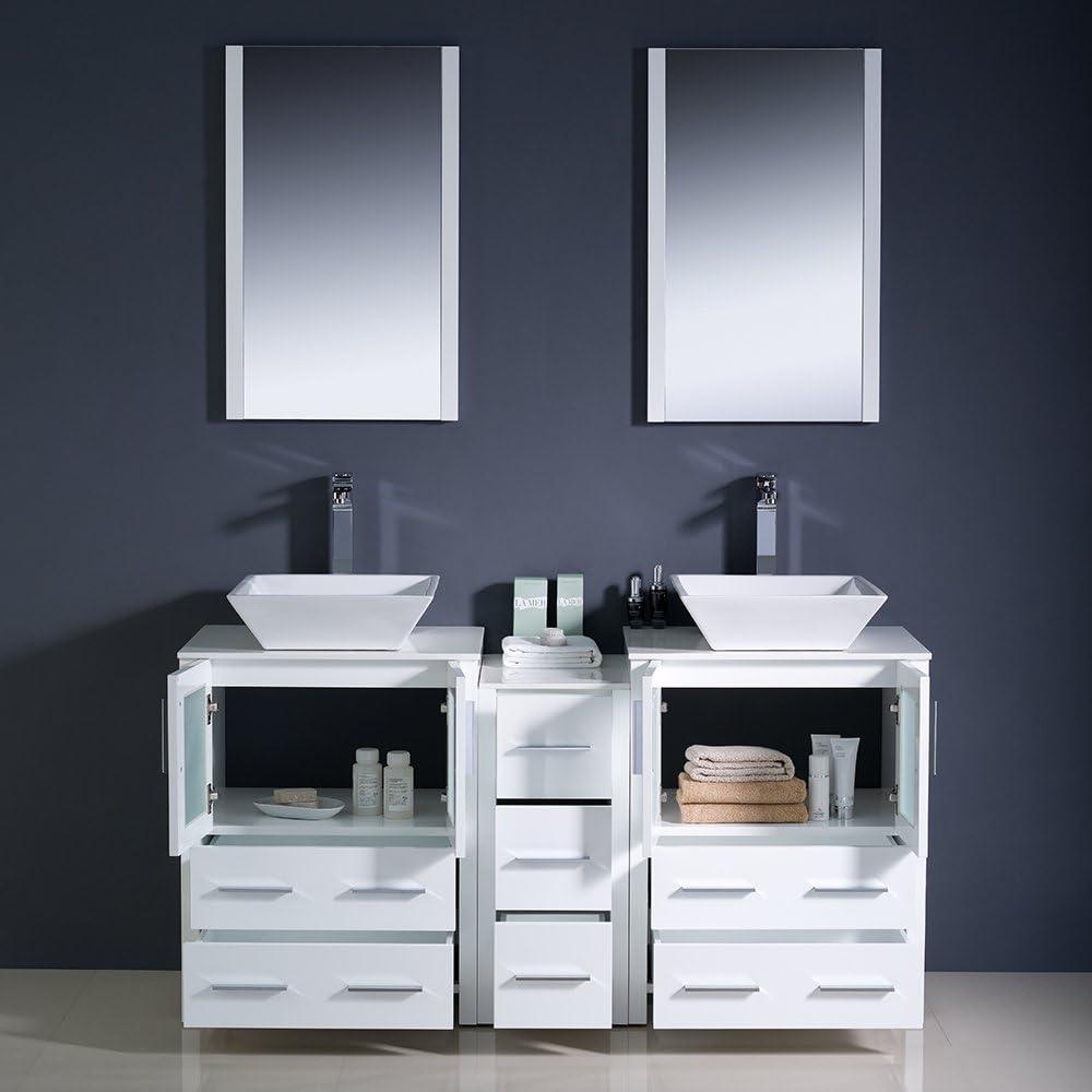 Fresca Bath Fvn62 241224wh Vsl Torino 60 Modern Double Sink Bathroom Vanity With Vessel Sinks White Kitchen Bath Fixtures Bathroom Fixtures Marray37 Fr