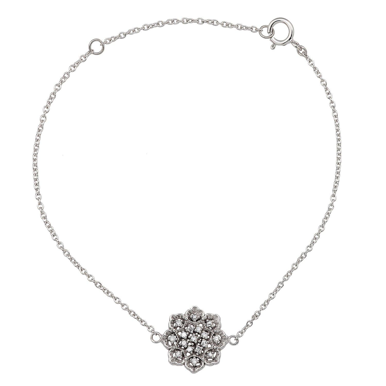 10k White Gold Floral Style Diamond Pendant Bracelet by Instagems